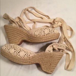 Steve Madden Leg-Tie Crocheted Wedges